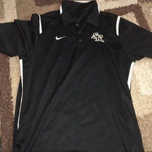 Nike Dri Fit Mens Polo Black Collared Large AA177